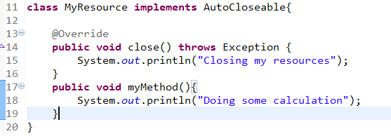 Classes that implement Closeable and AutoCloseable  Interface