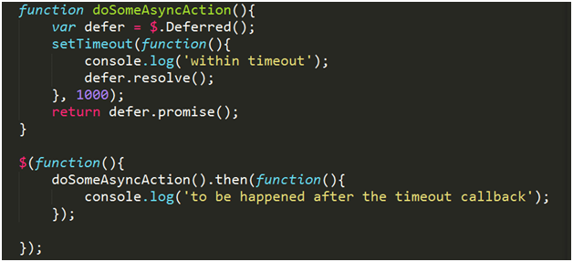 jquery code with promise